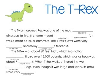 Dinosaur Mad Libs (Common and Proper Nouns, Adjectives)