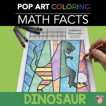 Dinosaur Math Fact Review Coloring Sheets