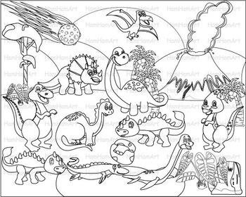 Dinosaur Outline School Clip Art baby dino animals childre