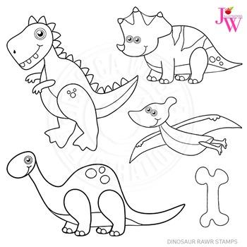 Dinosaur Rawr Cute Digital B&W Stamps, Dinosaur Line Art,