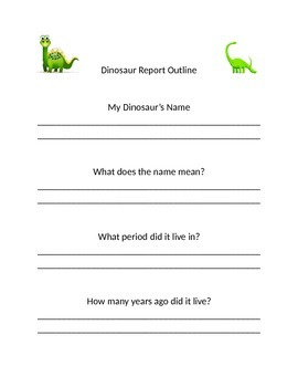 Dinosaur Report Scaffolding Outline.