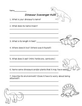 Dinosaur Research Scavenger Hunt