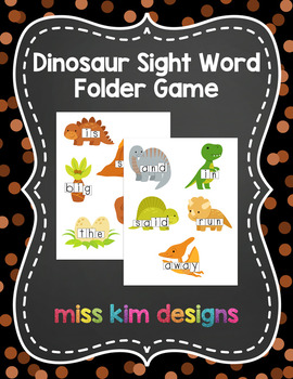 Dinosaur Sight Word Reading Folder Game for Early Childhoo