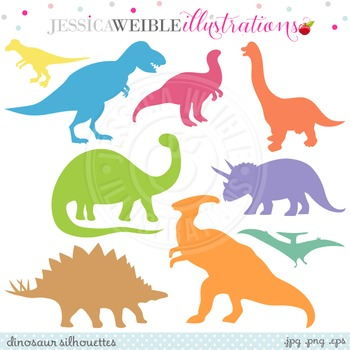 Dinosaur Silhouettes Cute Digital Clipart, Dinosaur Graphics