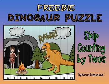 Dinosaur Skip Counting Puzzle FREEBIE - by Twos