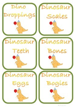 Dinosaur Snack Signs