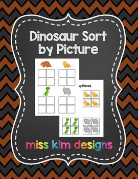 Dinosaur Sort by Picture File Folder Game for students wit