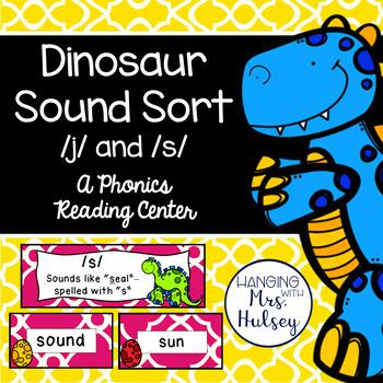 Dinosaur Sound Sort: /j/ and /s/ (Phonics Center Activity)
