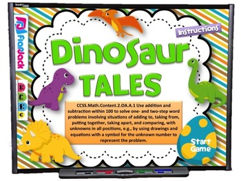 Dinosaur Tales Word Problems Smart Board Game (CCSS.2.OA.A.1)