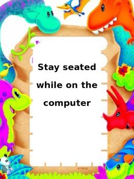 Dinosaur Theme Computer Center Rules