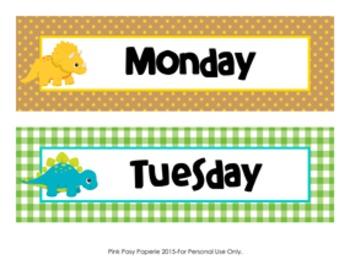 Dinosaur Theme Days of the Week Calendar Headers
