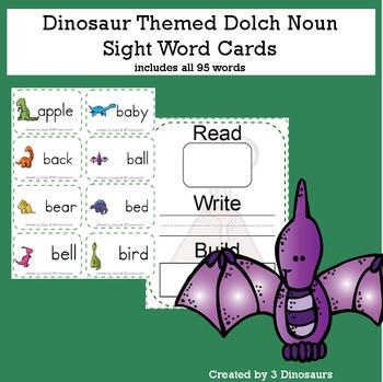 Dinosaur Theme Dolch Noun Sight Words