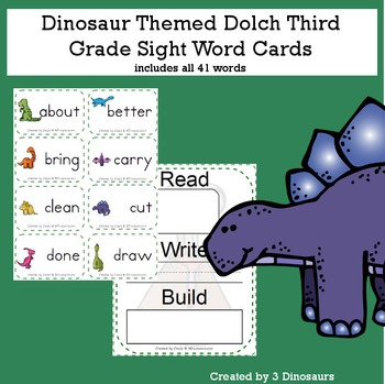 Dinosaur Theme Dolch Third Grade Sight Words