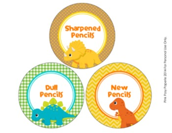 Dinosaur Theme Pencil Caddy Labels