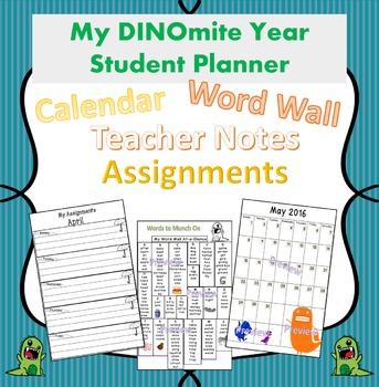 Dinosaur Theme Planner for Improved Teacher/Student/Parent