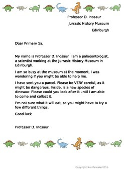Dinosaur Topic Introduction Letter