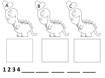 Dinosaur Valentine Alphabet and Counting
