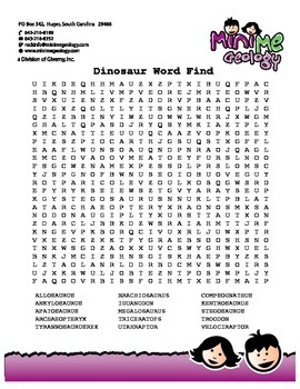 Dinosaur Word Find Puzzle