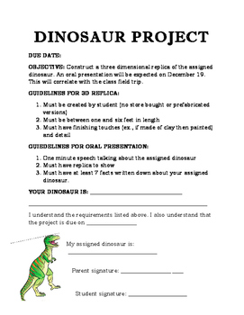 Dinosaur project and rubric