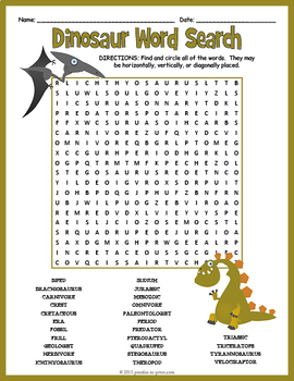 Dinosaurs Word Search Puzzle