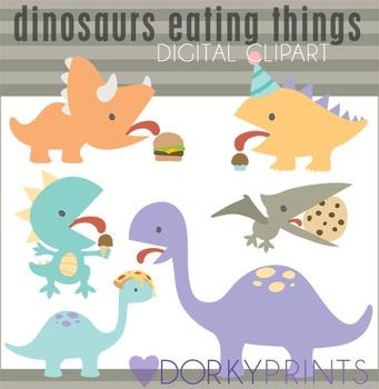 Dinosaurs Eating Things Clip Art
