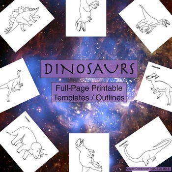 Dinosaurs Printable Full-Page Outline / Template / Colorin