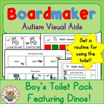 Dinosaurs Toilet Visual Pack (boy) - Boardmaker Visual Aid
