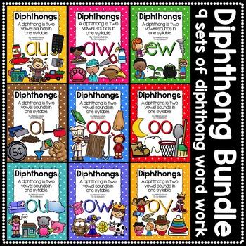 Diphthong Anchor Chart & Practice BUNDLE {Click File, Print}