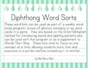 Diphthong Word Sorts | Orton-Gillingham Spelling List