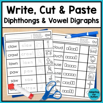 Diphthong and Vowel Digraphs Worksheets: No Prep Write, Cu