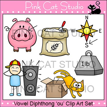 "Diphthong ""ou"" Phonics Clip Art Set - Commercial Use Okay"