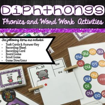 Diphthongs - Phonics Task Cards