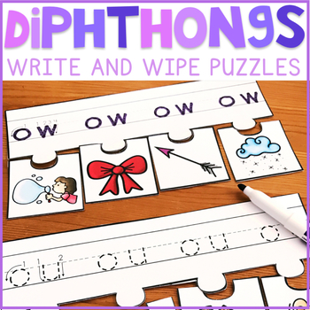 Diphthongs Write and Wipe Puzzles