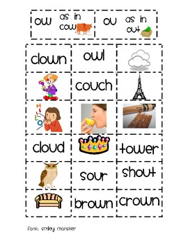 Diphthongs ow and ou sort