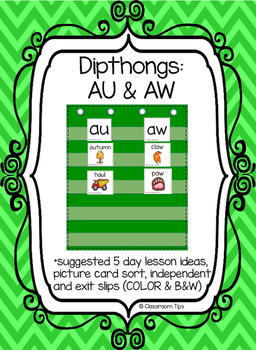 Dipthong Sort: AU  & AW (Color and B&W)