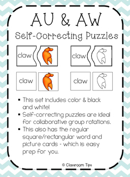 Dipthongs: AU & AW Self-Correcting Puzzles