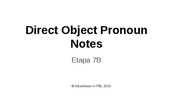 Direct Object Pronouns (DOP) notes