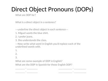 Direct Object Pronouns Notes - Spanish