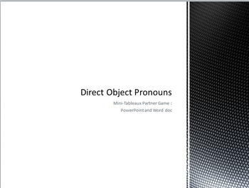 Direct Object Pronouns : Partner game with mini-white boar