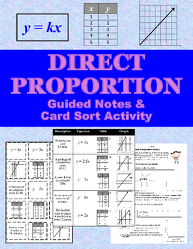 Direct Proportion Notes & Card Sort Activity