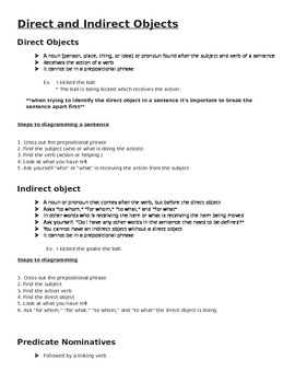 Direct and Indirect Object Notes