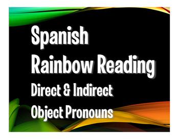 Spanish Direct and Indirect Object Pronoun Rainbow Reading