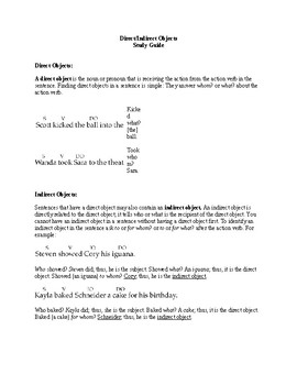 Direct and Indirect Objects Study Guide and Worksheet