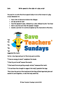 Direct speech and Play script dialogue worksheets