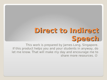 Direct to Indirect (or Reported) Speech