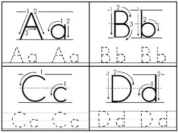 Directional Alphabet 4x5 Tracing Cards