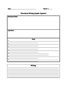 Directional Writing Graphic Organizer