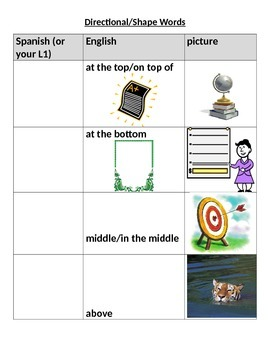 Directional/Positional words & shapes w/pictures and Engli