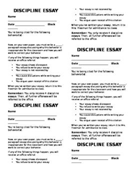 Discipline Essay Slip