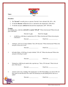 Discount Worksheet: Finding the Price of an Item